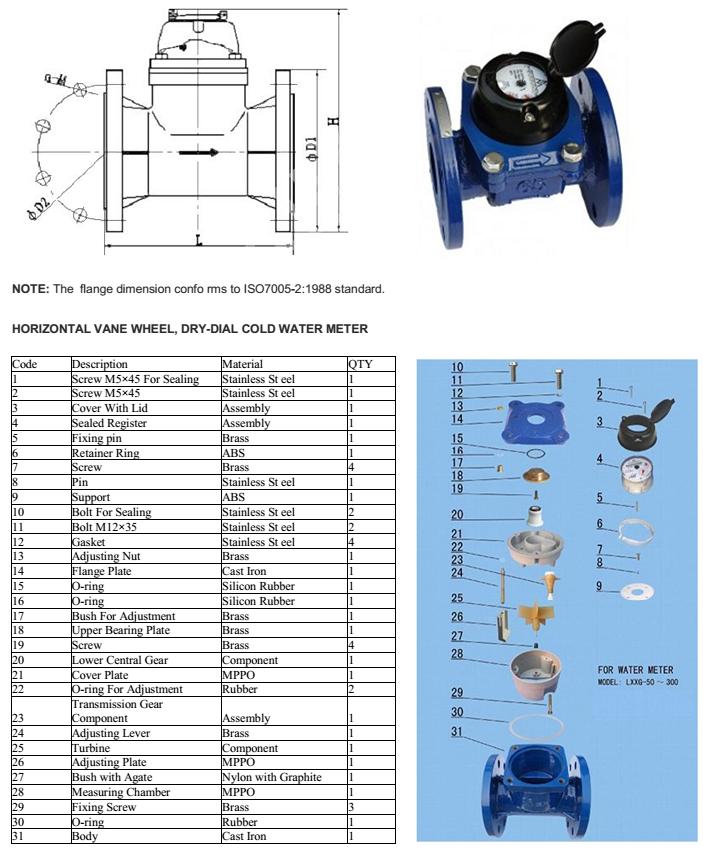 Thông số của đồng hồ đo nước thải dạng cơ lắp bích