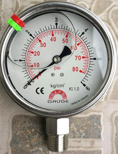 Đồng hồ đo áp suất chân inox, vỏ inox toàn bộ