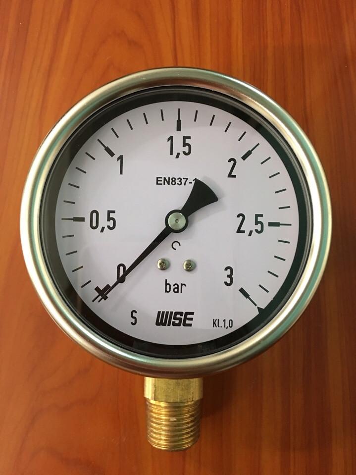 Đồng hồ đo áp suất WISE P253 0-3 bar mặt 100mm