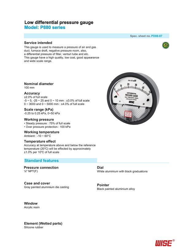 Đồng hồ đo chênh áp wise P880