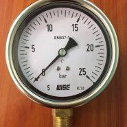 Đồng hồ áp suất wise P253 25 bar, mặt 100mm, chân đồng, không dầu