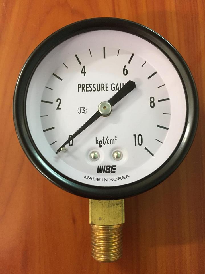 Đồng hồ áp 10 bar, Vỏ thép, chân đồng, không dầu