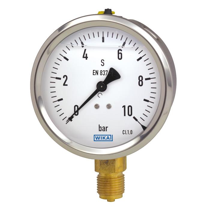 Đồng hồ đo áp suất 10 bar WIKA 213.53 mặt 100mm, chân đồng, vỏ inox 304 có dầu chống rung