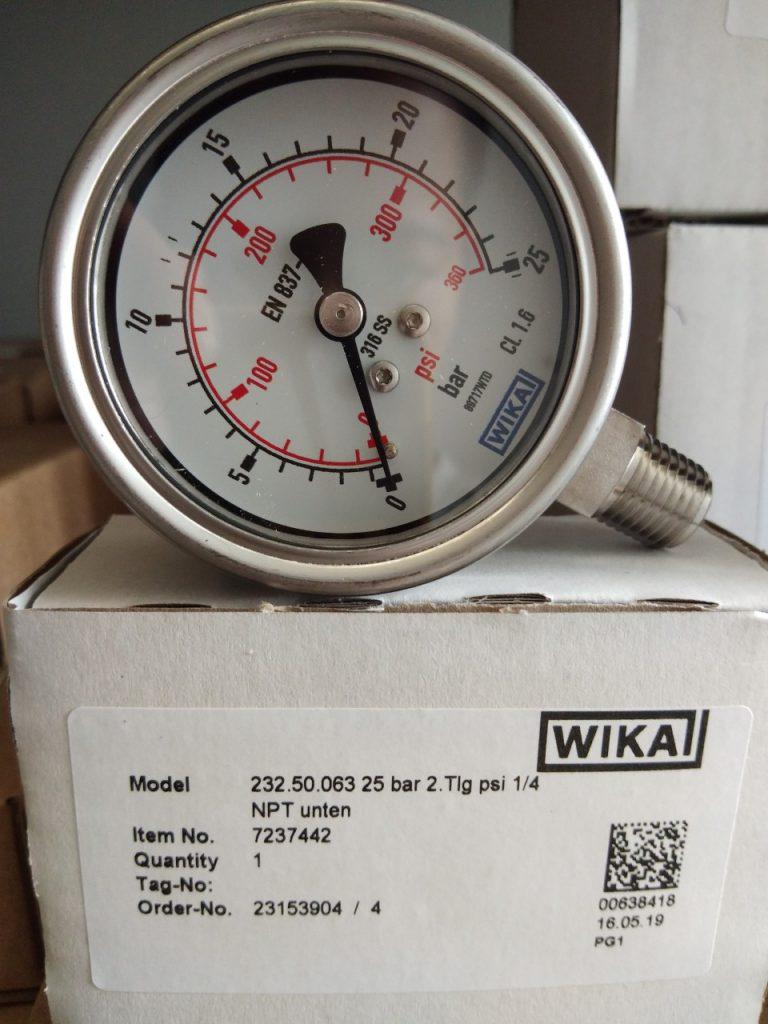 Đồng hồ đo áp suất WIka Model 232.50 mặt 63mm